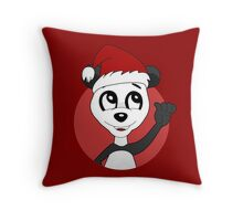 Cute Christmas panda bear cartoon Throw Pillow