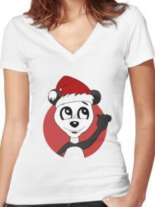 Cute Christmas panda bear cartoon Women's Fitted V-Neck T-Shirt