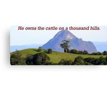He owns the Cattle on a Thousand Hills.  Canvas Print