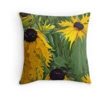 crazy black eyed susans Throw Pillow