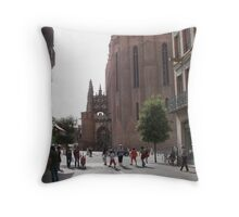 Glimpse of the basilica sainte Cécile Throw Pillow