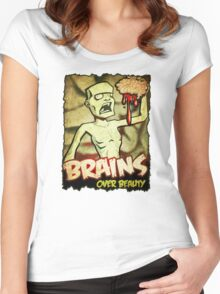 Brains Over Beauty Women's Fitted Scoop T-Shirt