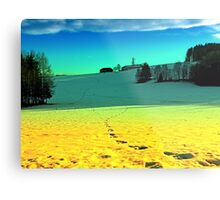 Winter wonderland in twilight colors | landscape photography Metal Print
