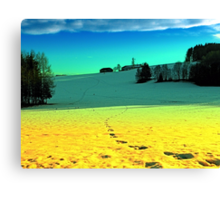 Winter wonderland in twilight colors | landscape photography Canvas Print
