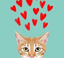 Mackenzie - Orange Tabby Cute Valentines Day Kitten Girly Retro Cat Art cell phone by PetFriendly