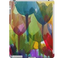 Tulip Flowers, Stems - Blue Red Green Yellow iPad Case/Skin
