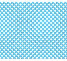 Light blue Turquoise white polka dots pattern Photographic Print