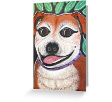 Gracie May Staffy under the lime tree Greeting Card