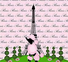 Pink Poodle Eiffel Tower by BeachBumFamily