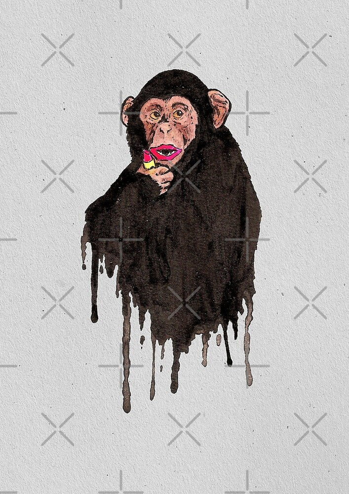 Lipstick Chimp by Calum Margetts Illustration
