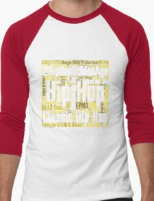 Real Hip Hop Word Cloud Art Men's Baseball ¾ T-Shirt
