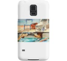 Get Set, Go! watercolor painting swimming competition Samsung Galaxy Case/Skin