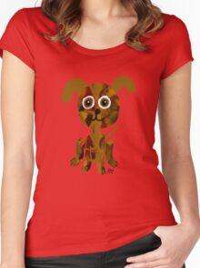 Plaid Puppy Teeshirt Women's Fitted Scoop T-Shirt