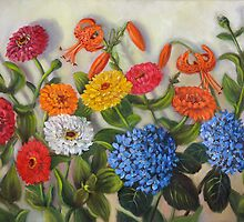 Zinnias, Tiger Lilies, Hydrangeas by Randy Burns aka Wiles Henly
