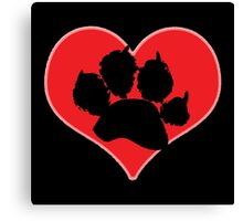 Paw Print Heart 2: Red and Black Canvas Print