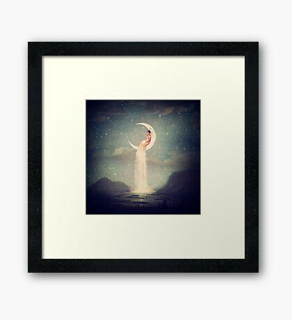 Moon River Lady Framed Print