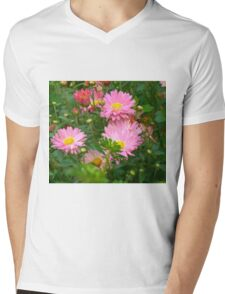 Pink Asters 4 Mens V-Neck T-Shirt