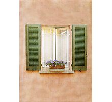 Peach and Green Window in Venice Photographic Print