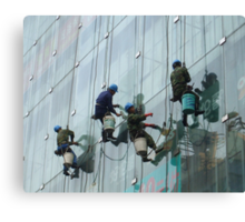 Window cleaning in Shanghai Canvas Print
