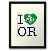 I PNW:GB OR (white) Green Heart v2 Framed Print