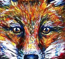Red Fox Stare Painting Wildlife Art Country Living by dottipriceart