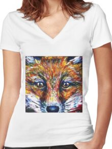 Red Fox Stare Painting Wildlife Art Country Living Women's Fitted V-Neck T-Shirt
