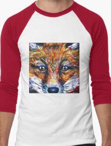 Red Fox Stare Painting Wildlife Art Country Living Men's Baseball ¾ T-Shirt