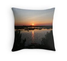 sunset on Greate bay (NJ) Throw Pillow