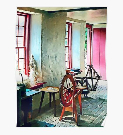 Spinning Wheel Near Window Poster