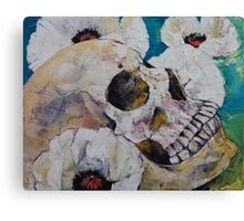 Skull with White Poppies Canvas Print