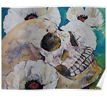 Skull with White Poppies Poster