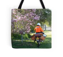 Postie delivering mail near a Magnolia !!! Tote Bag