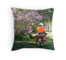 Postie delivering mail near a Magnolia !!! Throw Pillow