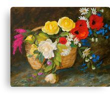 Basket of Flowers Floral Painting Canvas Print