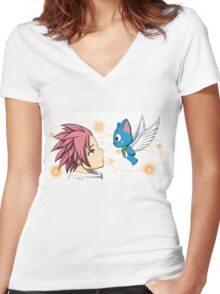 Natsu and Happy Women's Fitted V-Neck T-Shirt
