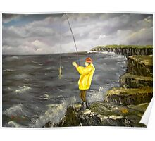 Fishing from the Cliffs of Clare, Ireland Poster