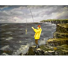 Fishing from the Cliffs of Clare, Ireland Photographic Print