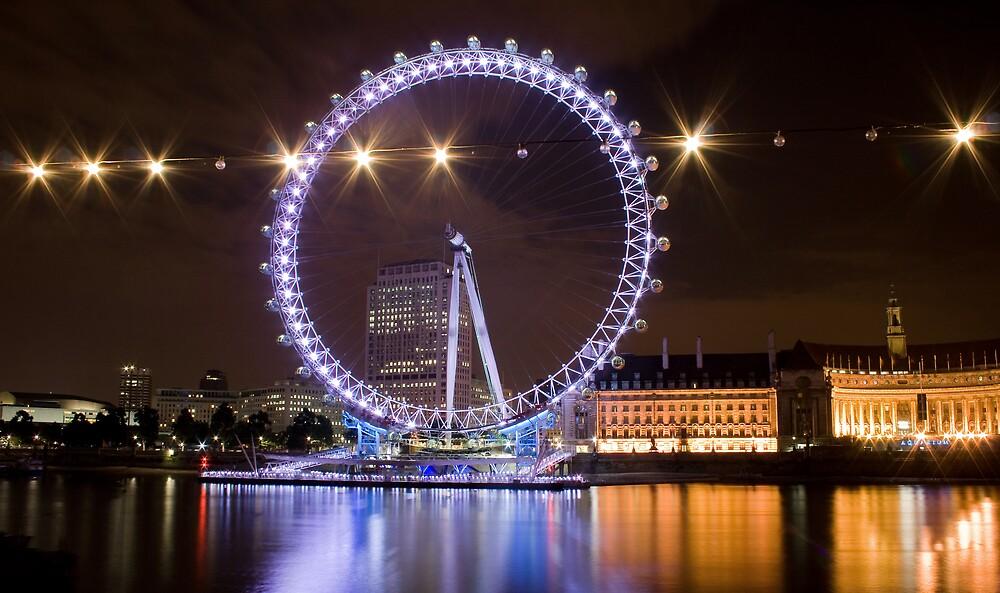 London Eye at night by Anders Hollenbo