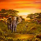 Elephant at Water Hole by Avril Brand