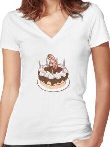 Happy Chestburster Birthday Women's Fitted V-Neck T-Shirt