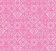 Diamond Gem Shape Outline LIGHT PINK by ISLWMP