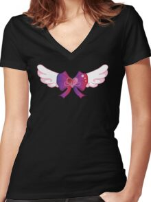 Kawaii Wing Heart Bow Women's Fitted V-Neck T-Shirt