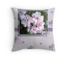 pink flowers birthday card Throw Pillow