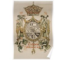 'Book Plate of Alphons XIII' by Alexandre de Riquer (Reproduction) Poster