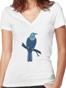 blue bird illustration Women's Fitted V-Neck T-Shirt
