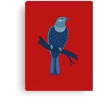 blue bird illustration red Canvas Print