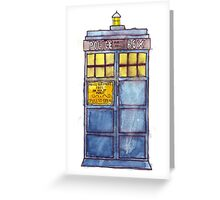 Police Box Watercolor Greeting Card