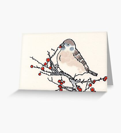 Winter Sparrow Greeting Card