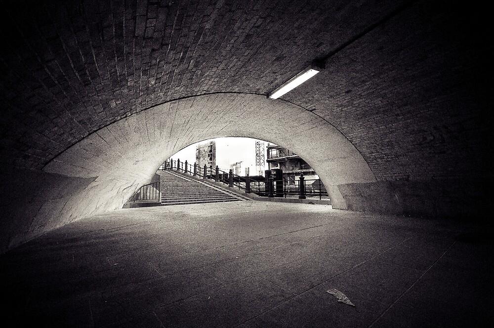 passenger tunnel arc bw by Markus Mayer