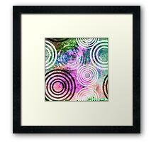 Grungy Pink/Green Circle Pattern Framed Print